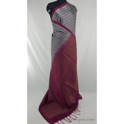 Grey and Pink Kanjeevaram Soft silk saree