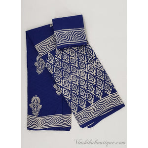 Bagru blue and white color mul cotton saree - Vinshika