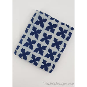Indigo Blue hand block printed handloom Bagru cotton fabric