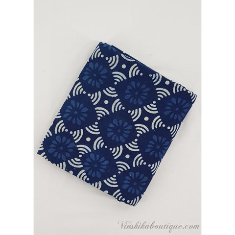 Indigo Blue hand block printed handloom Bagru cotton fabric - Vinshika