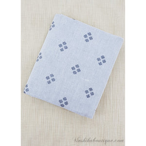 White and Grey color cotton butta fabric