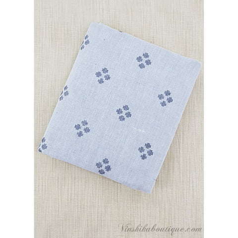White and Grey color cotton butta fabric - Vinshika