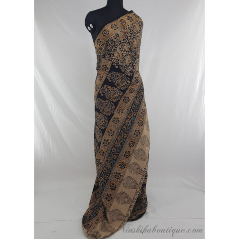 Hand printed kalamkari cotton saree - Vinshika
