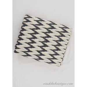 White and black color Ikat handloom cotton fabric - Vinshika