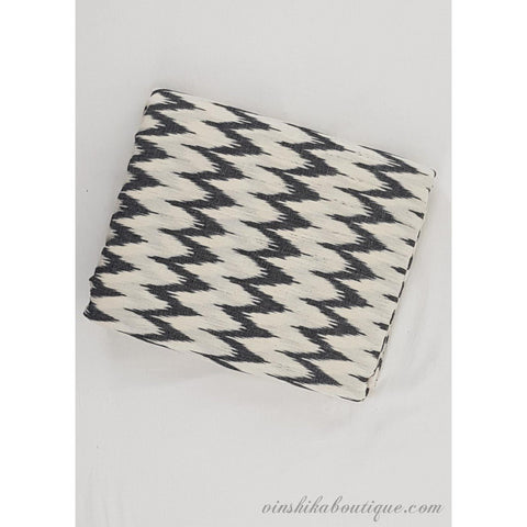 White and black color Ikat handloom cotton fabric