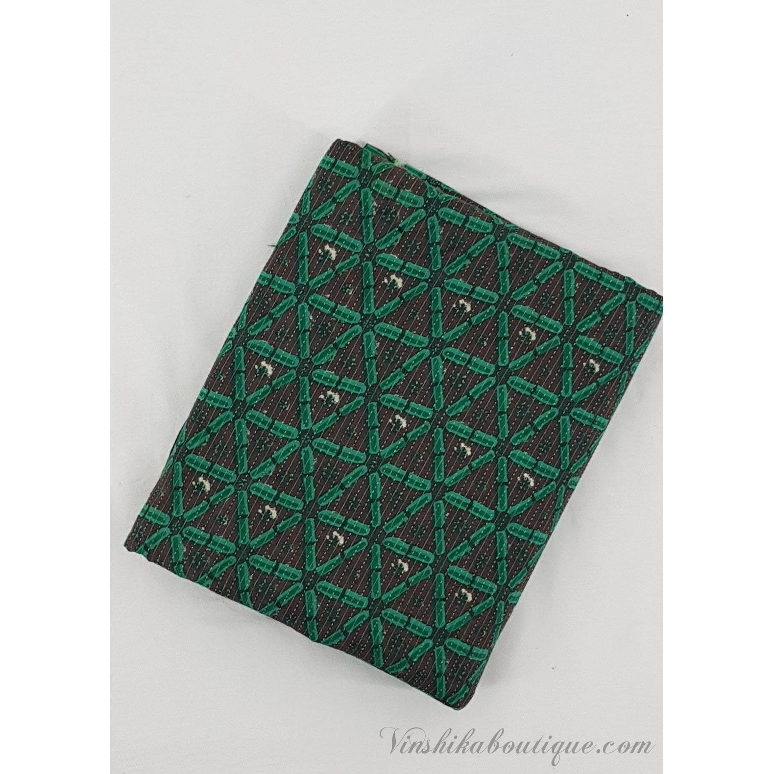 Green color block printed handloom Bagru cotton fabric - Vinshika
