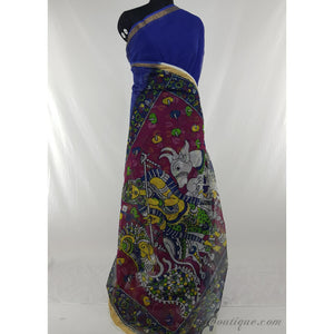 Hand printed kalamkari blue and pink color kota cotton saree - Vinshika