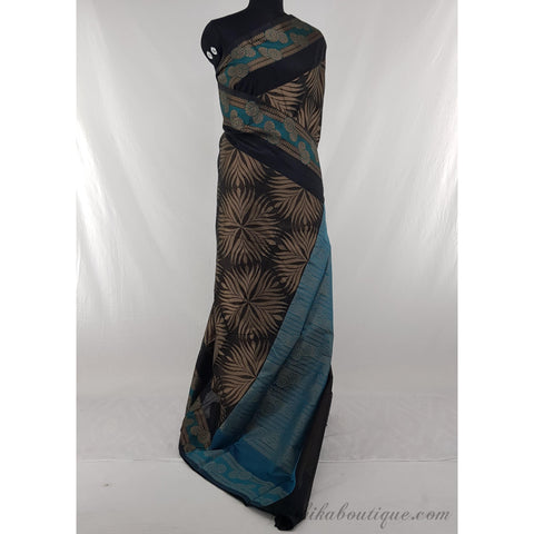 Black and Blue color SICO fancy saree - Vinshika