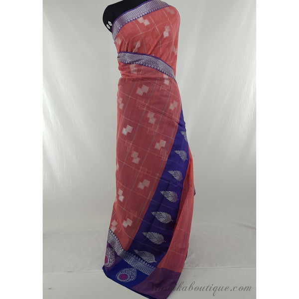 Peach and purple color SICO fancy saree - Vinshika