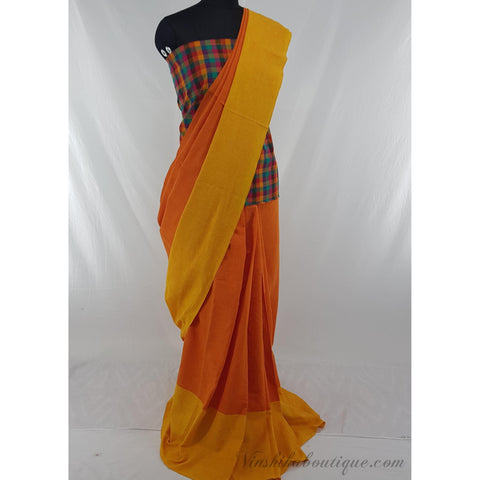Orange and Yellow color Khadi cotton saree with mangalagiri checks blouse - Vinshika