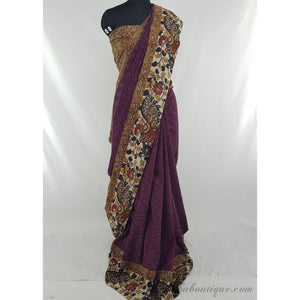 Ikat cotton with kalamkari borders fusion designer saree