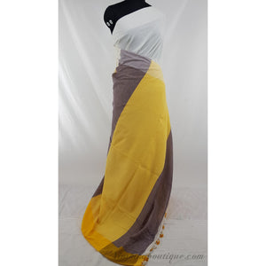 White and yellow color Khadi cotton handwoven saree - Vinshika