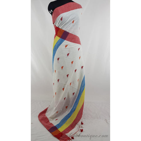 White and red color Khadi cotton jamdani buttis handwoven saree - Vinshika
