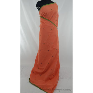 Carrot Orange color Khadi cotton jamdani buttis handwoven saree - Vinshika