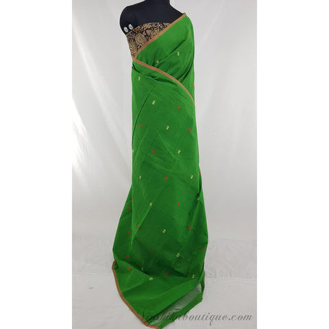Green Color Khadi cotton jamdani buttis handwoven saree - Vinshika