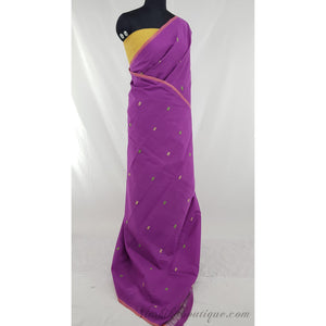 Brinjal color Khadi cotton jamdani buttis handwoven saree - Vinshika
