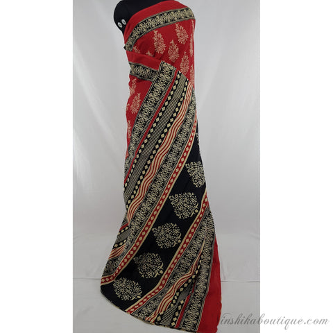 Bagru red and black color mul cotton saree with printed blouse - Vinshika