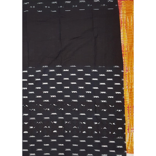 Bagru peach and black color mul cotton saree with printed blouse - Vinshika