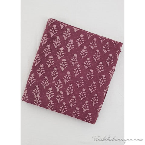 Light Fuchsia color Warli hand block printed handloom Bagru cotton fabric - Vinshika