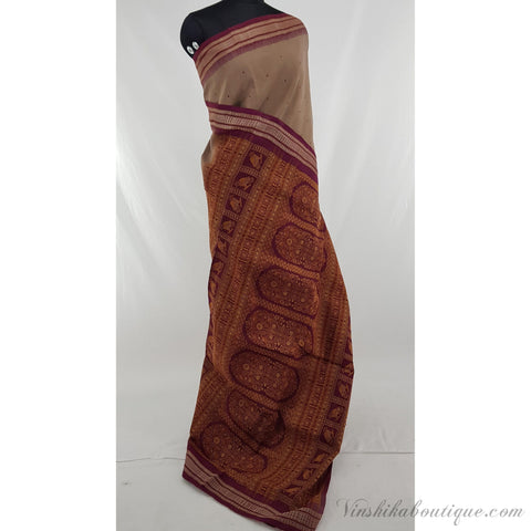 Beige and Maroon color Handloom sambalpuri ikat pure cotton saree - Vinshika