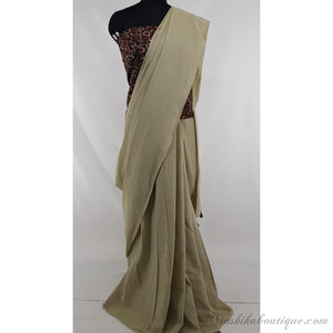 Beige color pure cotton plain saree - Vinshika