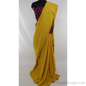 Yellow color pure cotton plain saree - Vinshika