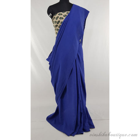Blue color pure cotton plain saree