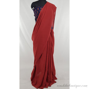 Tomato red color pure cotton plain saree