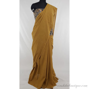 Beige color pure cotton plain saree