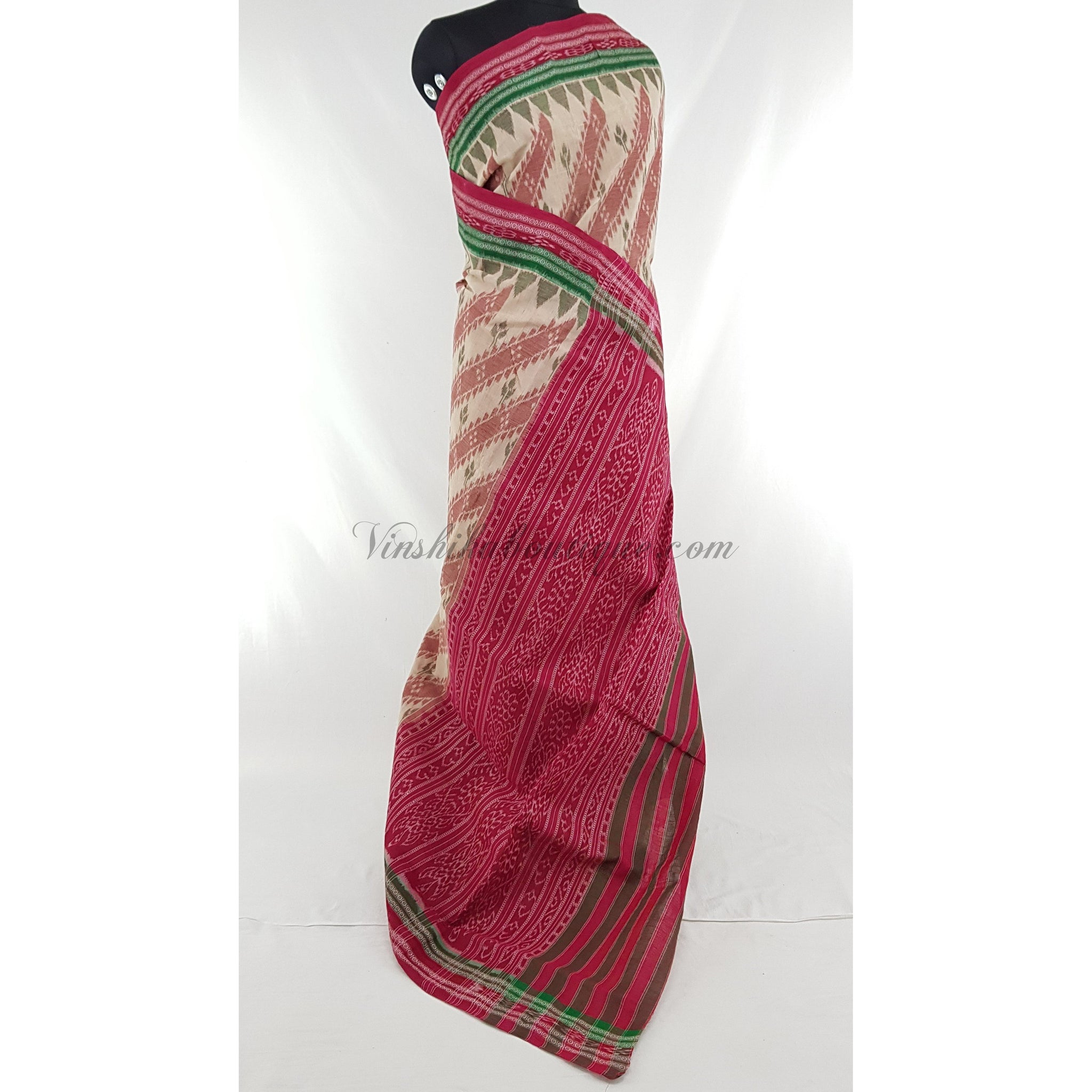 Handloom sambalpuri ikat pure cotton saree, no blouse. - Vinshika