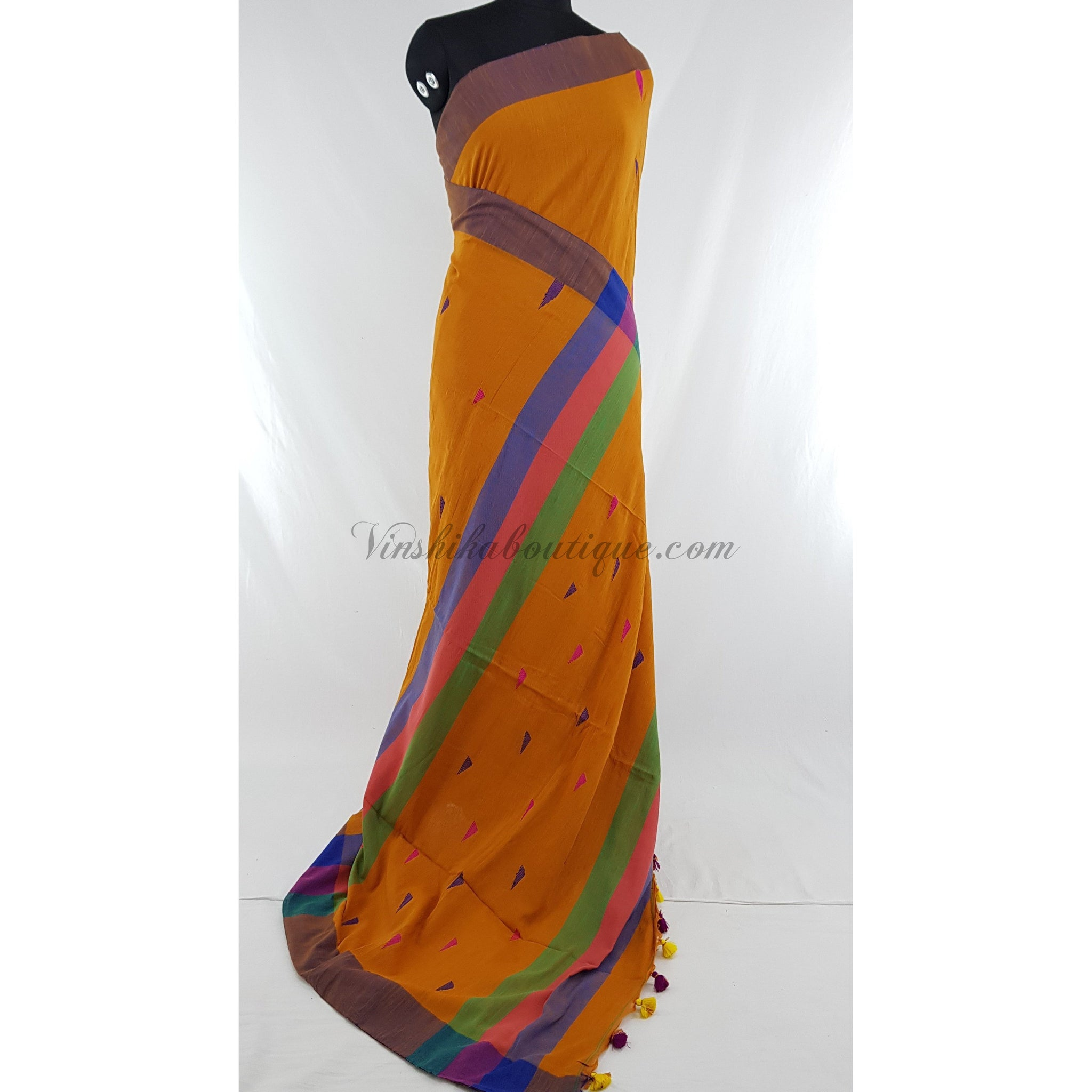 Mustard Yellow color Handmade yarn cotton jamdani buttis handwoven saree - Vinshika