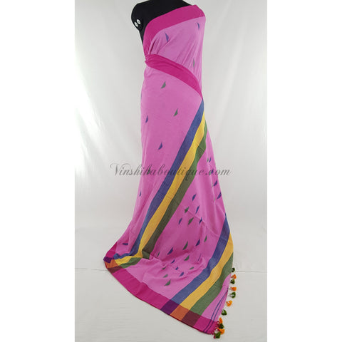 Pink color Khadi cotton jamdani buttis handwoven saree