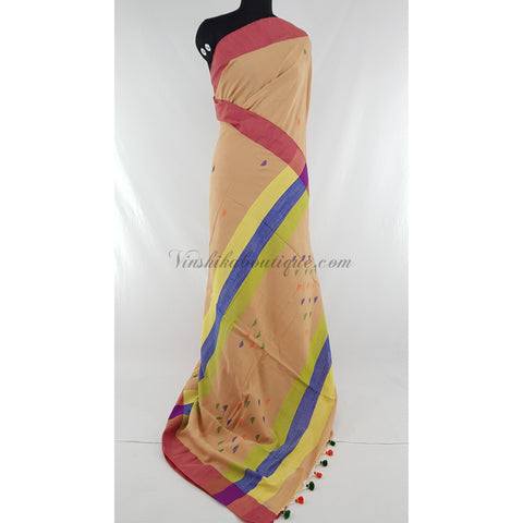 Beige and pink color Khadi cotton jamdani buttis handwoven saree