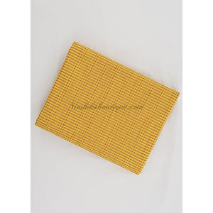 Woven Kantha cotton yellow and marron fabric - Vinshika