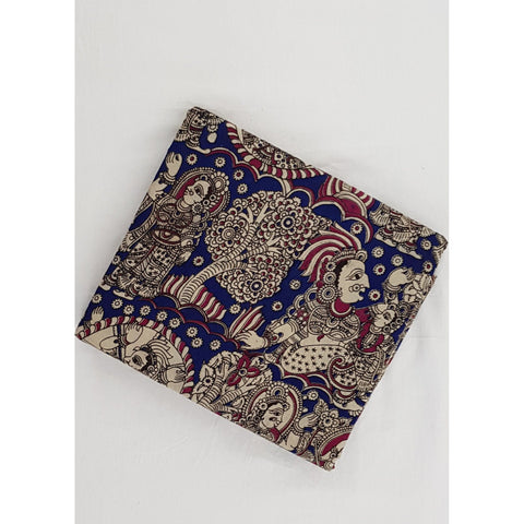 Hand block printed kalamkari cotton fabric