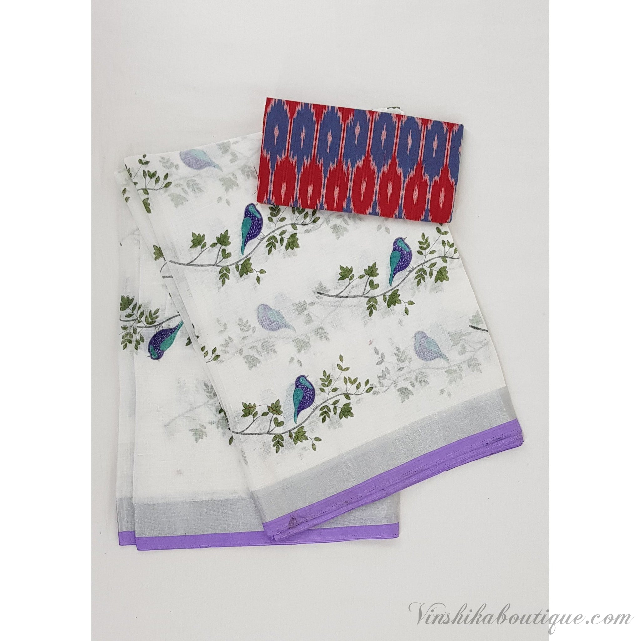Printed Linen saree with Ikat blouse - Vinshika