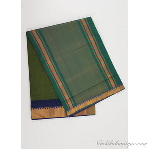 Green and blue color Mangalagiri cotton saree with golden zari border - Vinshika