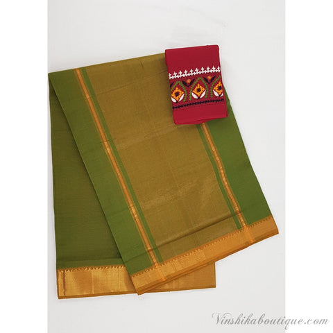 Green color Mangalagiri cotton saree with golden zari border