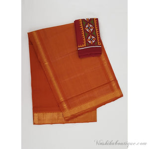 Mustard yellow color Mangalagiri cotton saree with golden zari border - Vinshika
