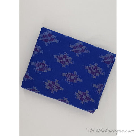 Blue colour Ikat handloom cotton fabric