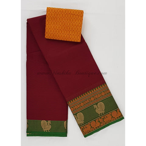 Kanchi cotton saree with thread border