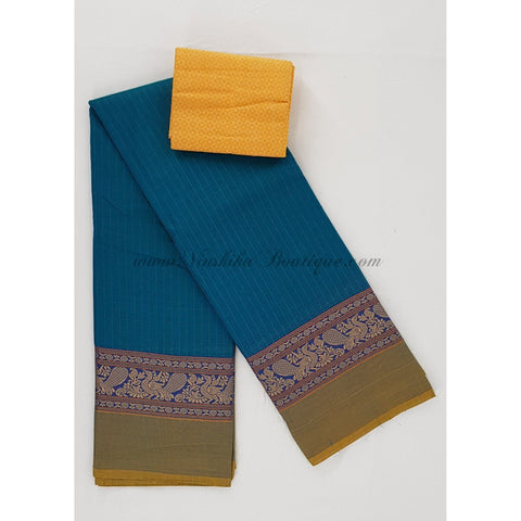Kanchi cotton saree all over checks with thread border