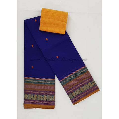 Kanchi cotton saree all over buttis thread border