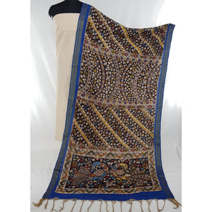 Handpainted Pen Kalamkari Cotton dupatta with mangalagiri Cotton top / Salwar set - Vinshika