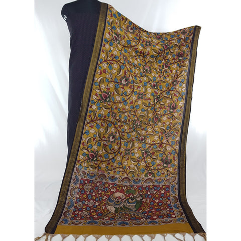 Handpainted Pen Kalamkari Cotton dupatta with black mangalagiri Cotton top / Salwar set - Vinshika