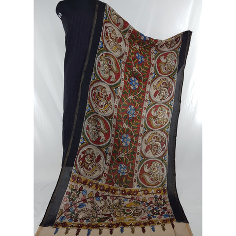 Handpainted Pen Kalamkari Chennuri silk dupatta with black mangalagiri Cotton top / Salwar set - Vinshika