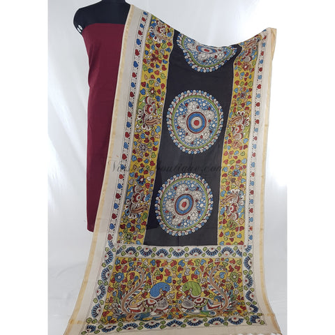 Handpainted Pen Kalamkari Chennuri silk dupatta with mangalagiri Cotton top / Salwar set - Vinshika