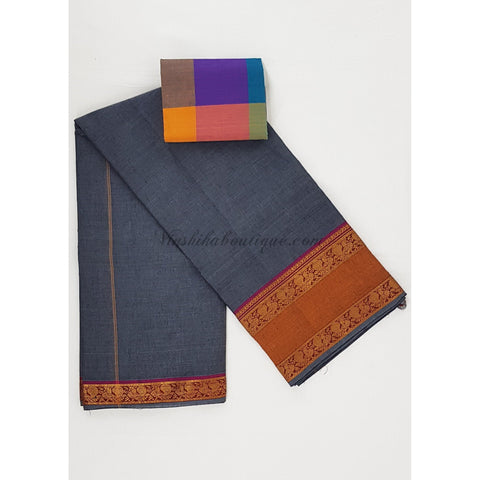 Handwoven Narayanpet pure cotton zari border saree - Vinshika