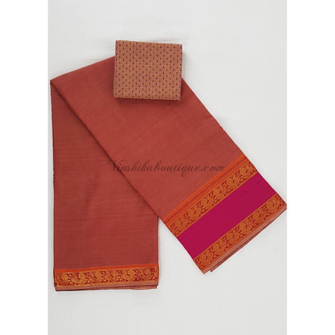 Handwoven Narayanpet pure cotton zari border saree