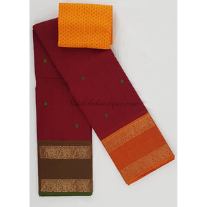 Kanchi cotton saree with zari border - Vinshika